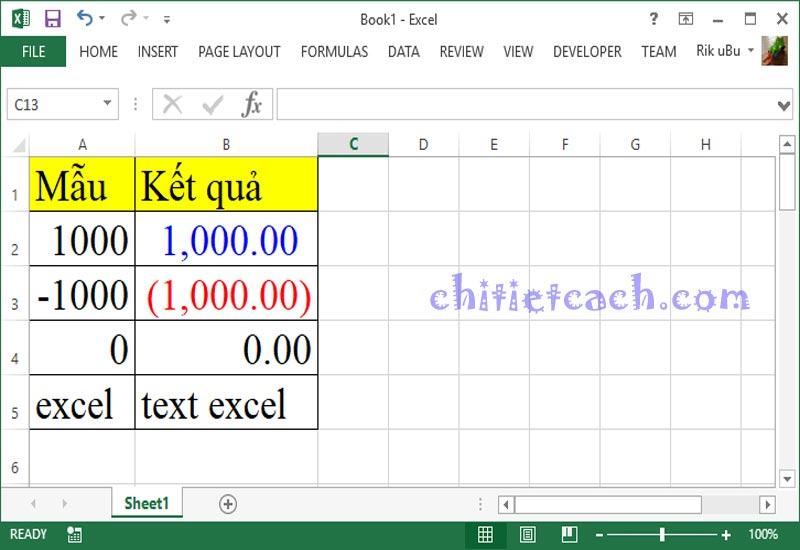 Hình ảnh 1: Custom Format Excel 2013
