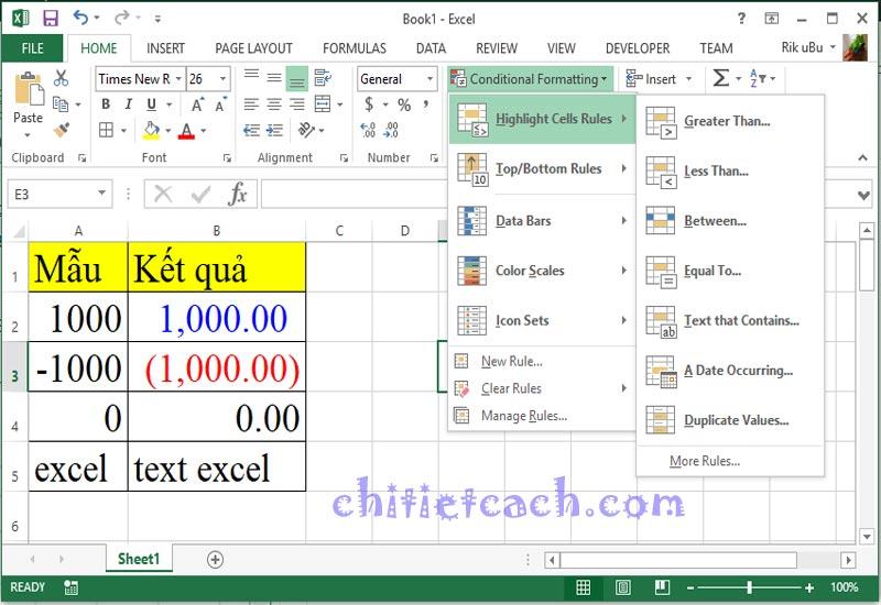Hình ảnh 7: Custom Format Excel 2013