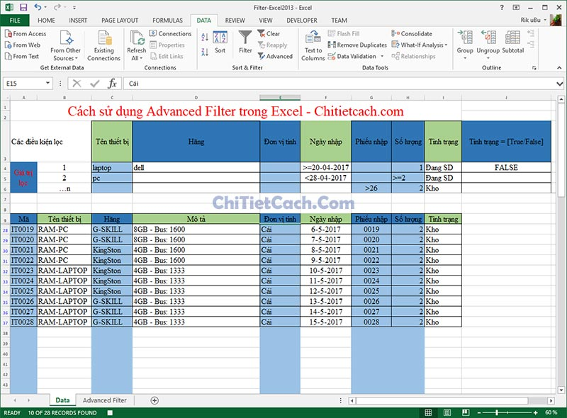 Advanced Filter - Excel