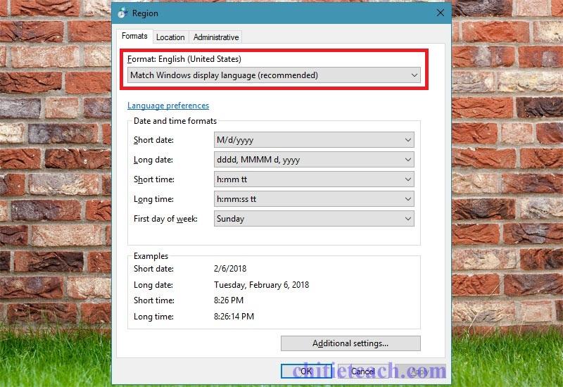Hình ảnh 3: Định dạng thời gian Windows