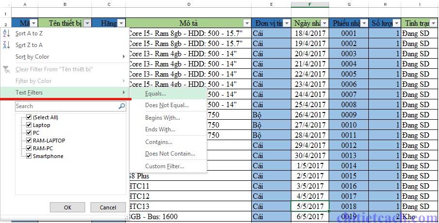 Hình ảnh 10: Filter Excel