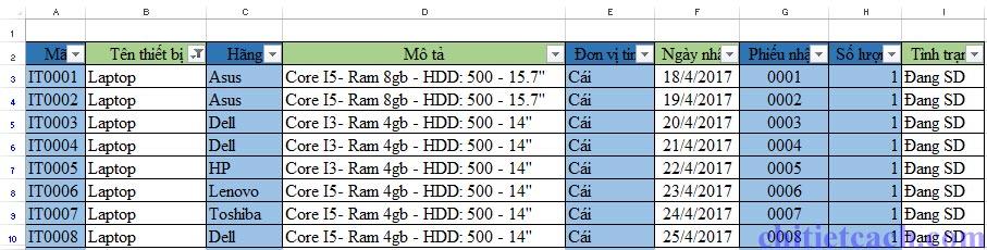 Hình ảnh 7: Filter Excel