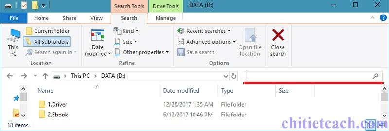 Hình ảnh 1: Tìm kiếm nhanh trong Windows