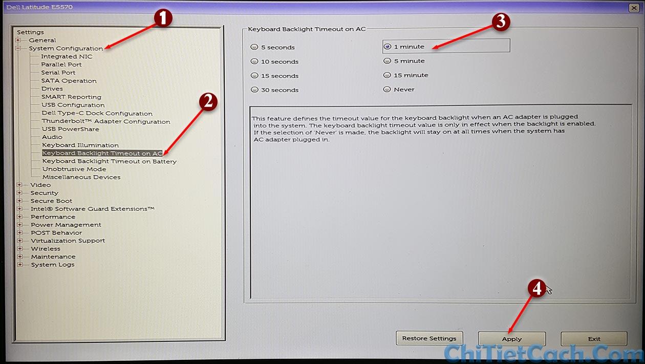 Cách thay đổi thời gian sáng đèn bàn phím Laptop Dell