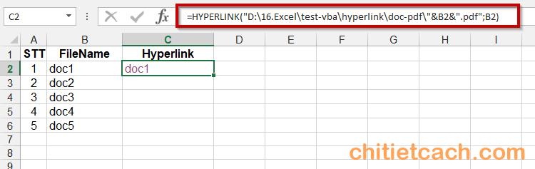 Tạo liên kết file bằng hàm Hyperlink